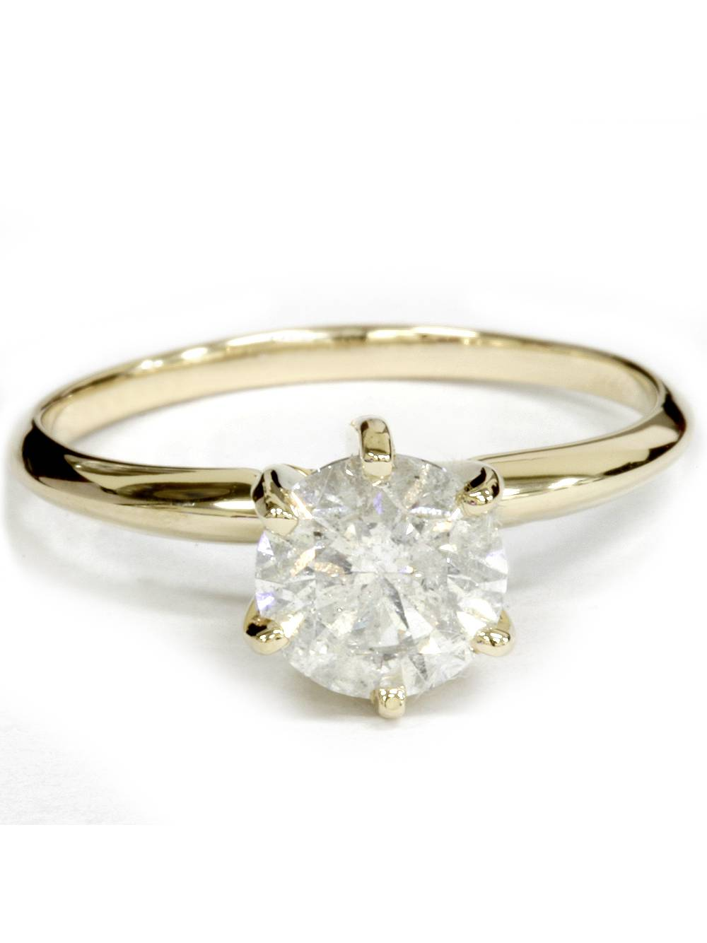 G/SI Yellow Gold 1ct Round Solitaire Diamond Engagement Ring 14K