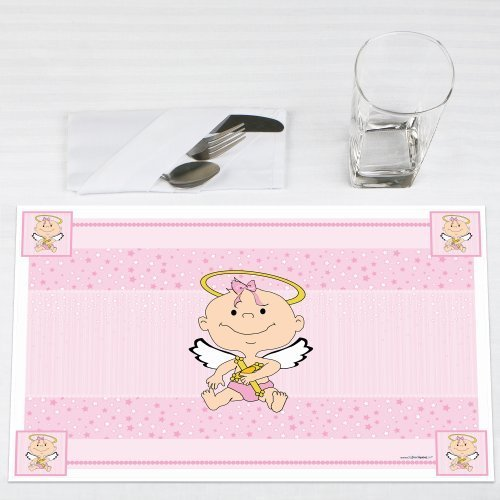 Click here to buy Angel Baby Girl Baptism Party Placemats Set of 12 by Big Dot of Happiness, LLC.