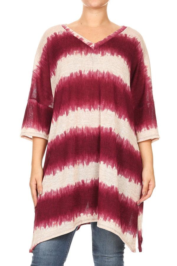 Plus Size Women's 3/4 Sleeves long body top