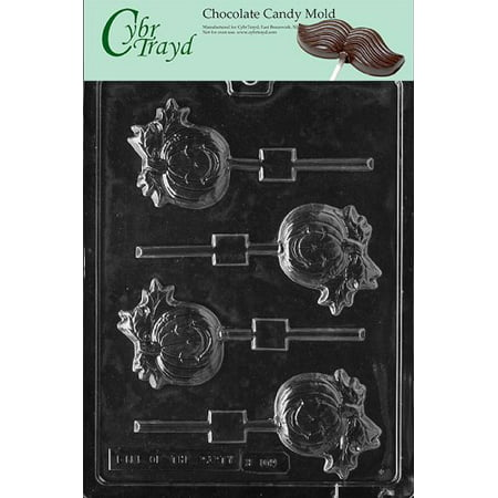 Cybrtrayd Life of the Party H109 Halloween Thanksgiving Pumpkin Lolly Chocolate Candy Mold in Sealed Protective Poly Bag Imprinted with Copyrighted Cybrtrayd Molding Instructions