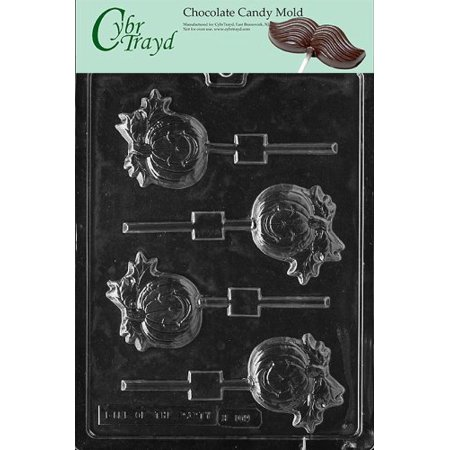Cybrtrayd Life of the Party H109 Halloween Thanksgiving Pumpkin Lolly Chocolate Candy Mold in Sealed Protective Poly Bag Imprinted with Copyrighted Cybrtrayd Molding - Moldes Para Halloween