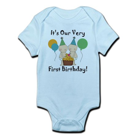 CafePress - Twin Babies 1St Birthday Infant Bodysuit - Baby Light Bodysuit