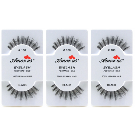 LWS LA Wholesale Store  3 Pairs AmorUs 100% Human Hair False Long Eyelashes # 106 compare Red Cherry - Longs Wholesale