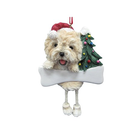 Cairn Terrier Dog Dangling/Wobbly Leg Christmas Ornament, Easily Personalized With A Sharpie By ES (Cairn Terrier Silhouette)