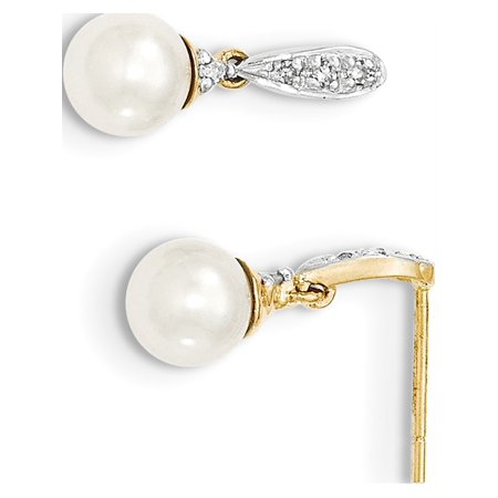 14k Yellow Gold Diamond and 6-7mm Round FW Cultured Pearl Post Dangle (6x17mm) Earrings - image 3 of 3