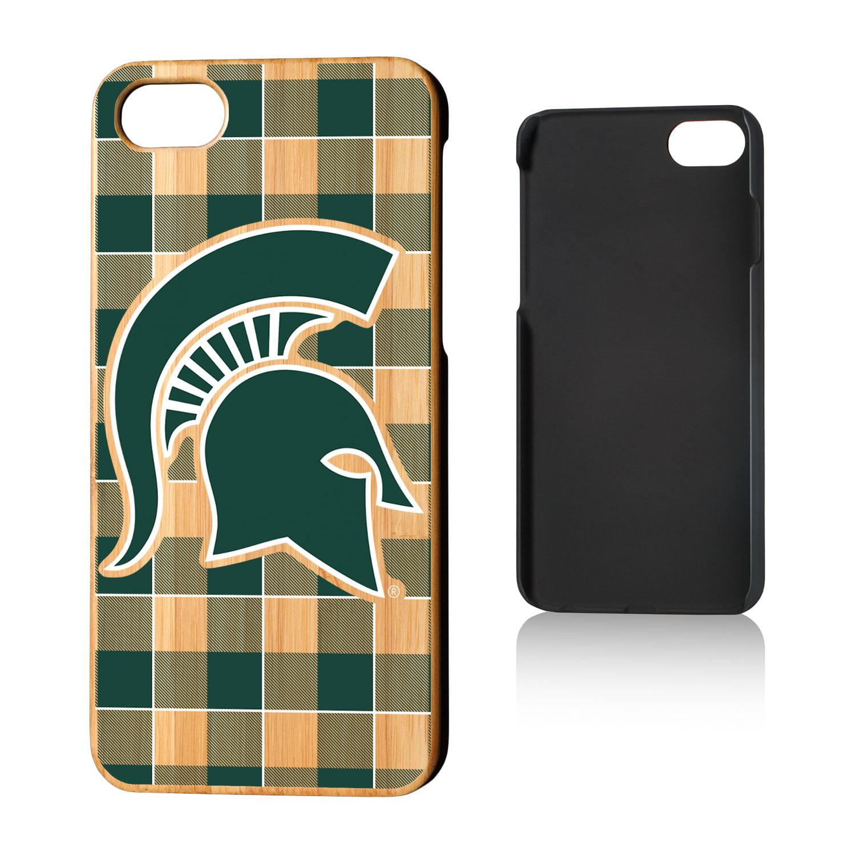 huge discount e1035 a3c46 MSU Michigan State Spartans Plaid Bamboo Case for iPhone 8 / 7