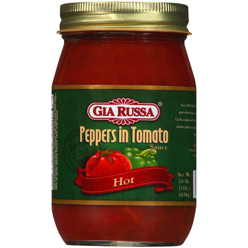 Gia Russa Hot Peppers in Tomato Sauce, 16 oz