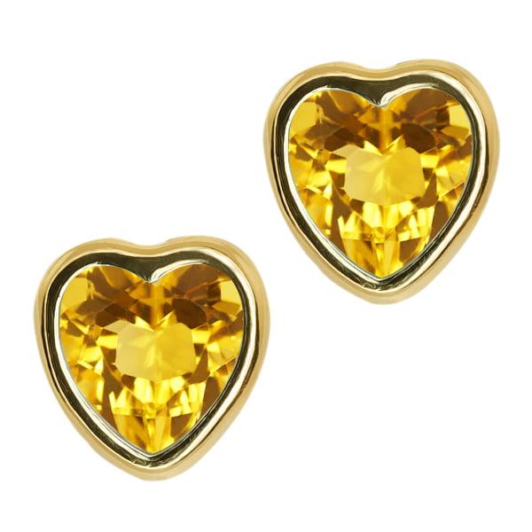 1.44 Ct Heart Shape Yellow Citrine 10k Yellow Gold bezel Stud Earrings 6mm