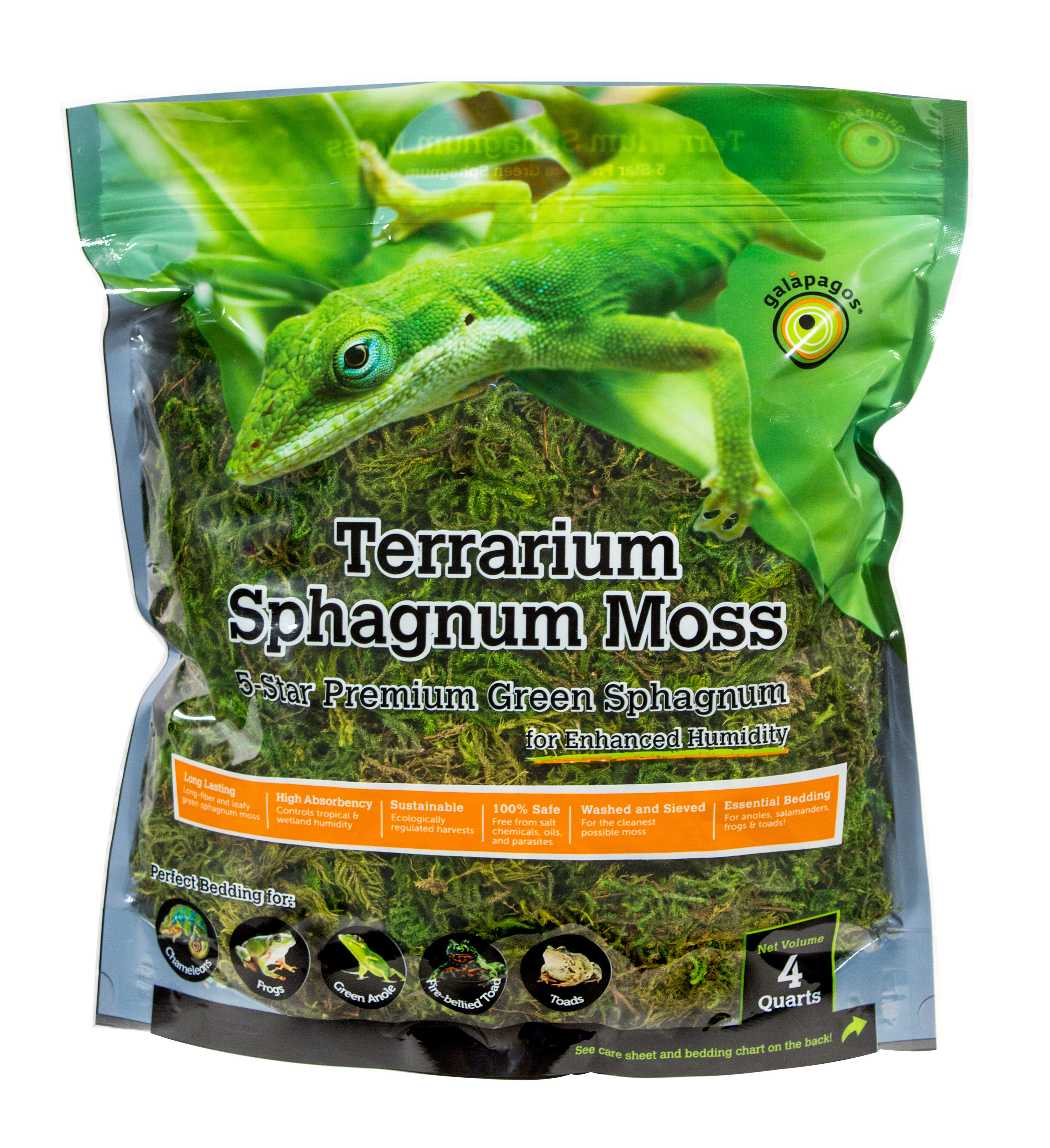 Galapagos (05213) Terrarium Sphagnum Moss, Fresh Green, 4qt Stand-Up Pouch