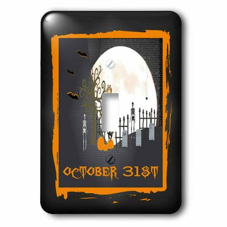 3dRose Spooky Graveyard, October 31st, Big Moon, Skeletons, Black Cat, Spider, 2 Plug Outlet Cover](Oct 31st Halloween)