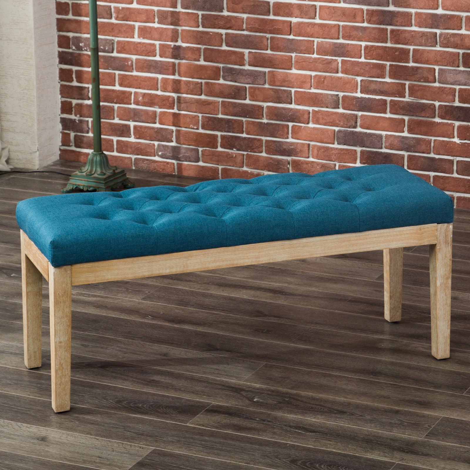Beau Roundhill Mod Urban Style Solid Wood Button Tufted Fabric Dining Bench, Blue