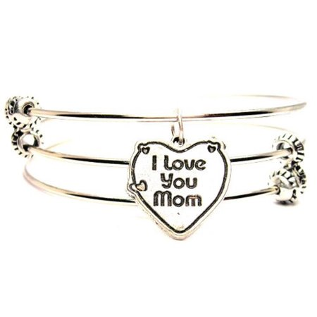 I Love You Mom Triple Style Expandable Bangle Bracelet, Fits 7.5