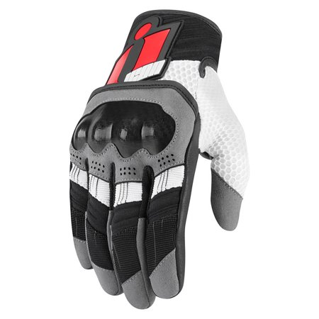 Icon Overlord Mens Motorcycle Gloves Red (Icon Super Duty Motorcycle Glove)