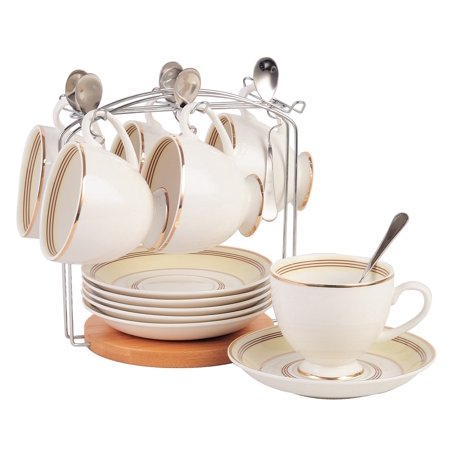 Jusalpha Fine China Tea Cup and Saucer Set-Coffee Cup Set with Saucer, Spoon and Teacup Holder (FD-TCS16 (6) Bracket) 6 teacup set with bracket version 2