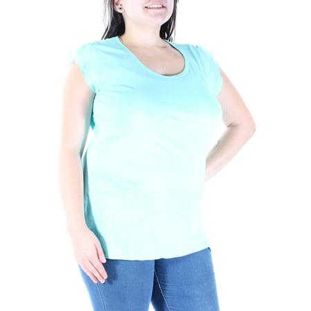 STYLE & CO Womens Light Blue Sheer Cap Sleeve Scoop Neck Top  Size: (Sheer Cap Sleeve Baseball Tee)