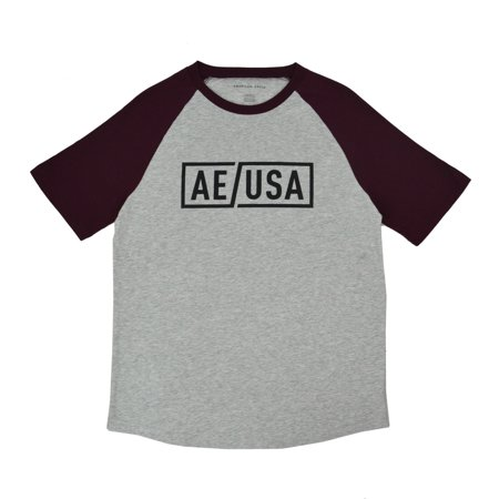 Ae Eagle - New  American Eagle Mens Heather Gray Red AE Bold Logo Tee Shirt Sz Small S 3786-6