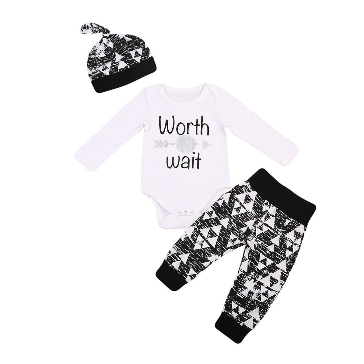 USA Stock 3Pcs Newborn Baby Boy Romper Tops+Long Pants Hat Outfits Clothes 0-18M