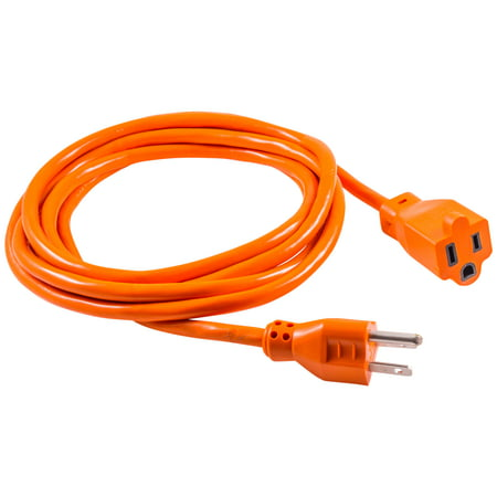 GE 1-Outlet Indoor/Outdoor 9ft. Heavy Duty Extension Cord, Orange, 51927 - Heavy Duty Triple Outlet