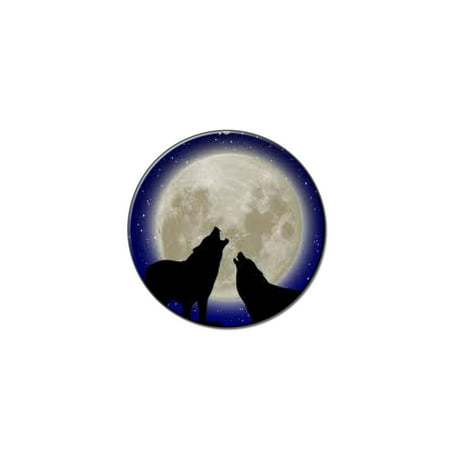 Howling At The Moon - Wolf Wolves Lapel Hat Pin Tie Tack Small Round