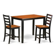 East West Furniture YAFA3-BLK-W Counter Height Pub Table & 2 Kitchen Dining Chairs, Black Finish