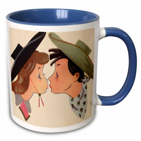 3dRose Kissing Cowboy and Cowgirl Artwork - Two Tone Blue Mug, 11-ounce](Cowboy And Cowgirl)