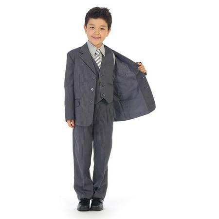 Angels Garment Little Boys Gray Pinstripe Jacket Pants Vest Shirt Tie Suit (Boys Suits Grey)