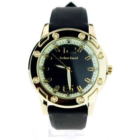 Techno Trend Mens Bling Iced Out Rhinestone Silicone Band Luxury Wrist Watch
