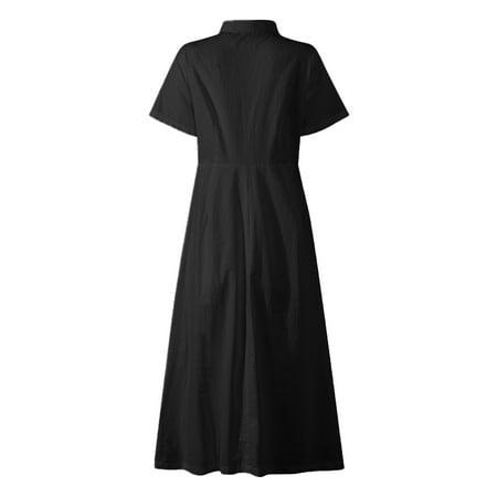 VONDA Women's Solid Cotton Dress Casual Lapel Short Sleeve Shirtdress - image 6 de 8