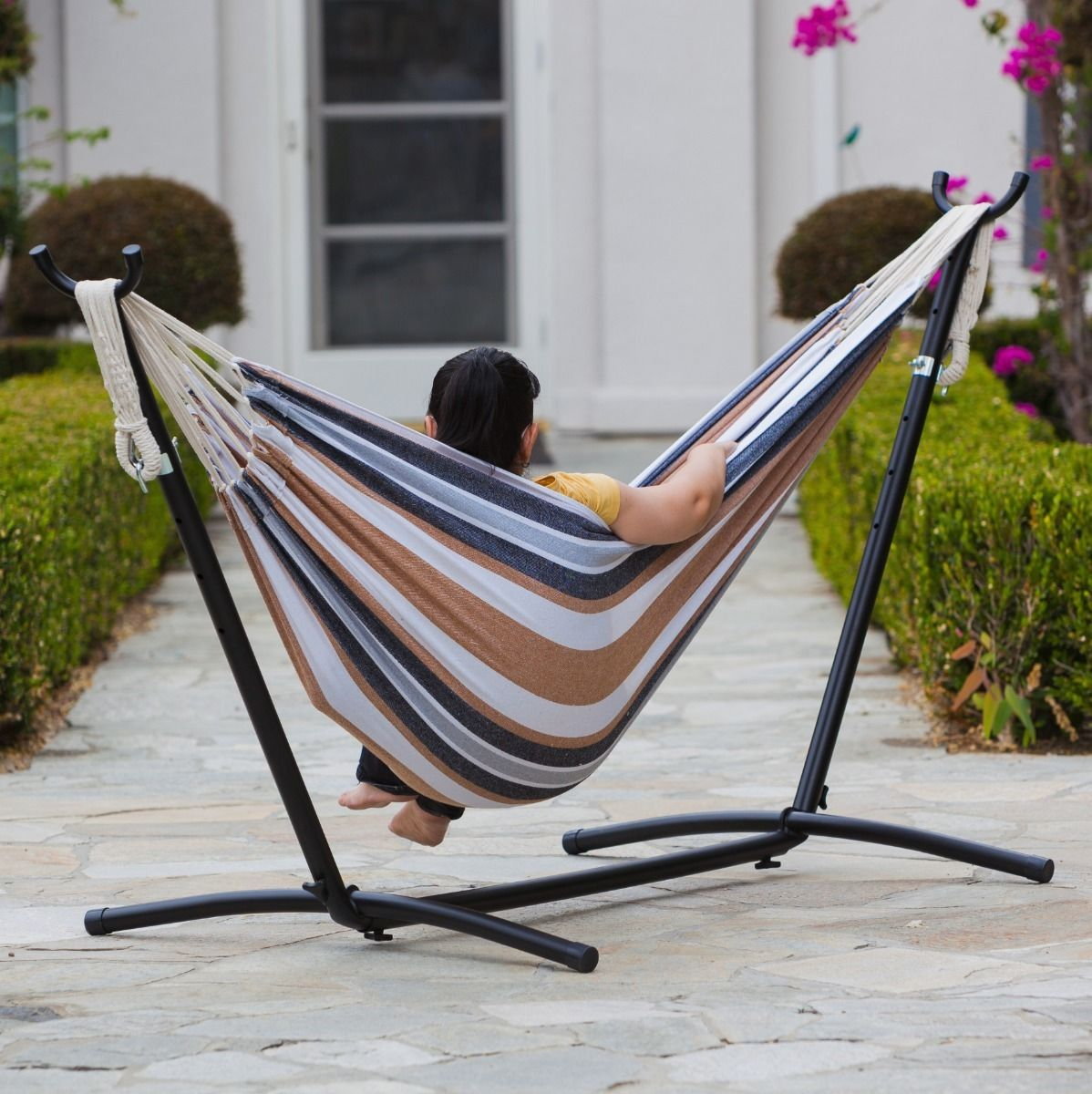 "GHP 250 Lbs Capacity 115""x48"" Steel Frame Striped Cotton Fabric Hammock with Stand"
