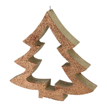 "7"" Copper Glittered Cutout Tree Christmas Ornament - image 2 of 2"