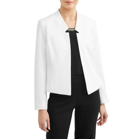 Lined Notched Collar Blazer - Women's Light Stand Collar Crepe Blazer