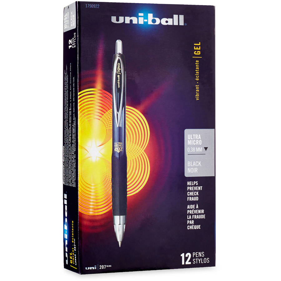 uni-ball 207 Signo Ultra Series, 0.38 mm, Black, 12-Pack