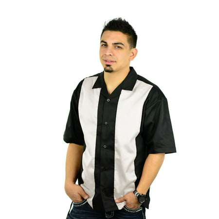 (Men's Short Sleeve Retro Bowling Camp Shirt By Mato & Hash - Black/Ivory CA5000 S)