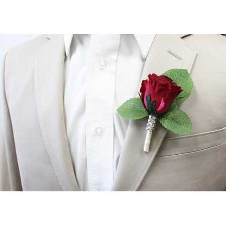 Prom Boutonniere - Classic Rose rosebud boutonniere (Prom Corsages Boutonnieres)
