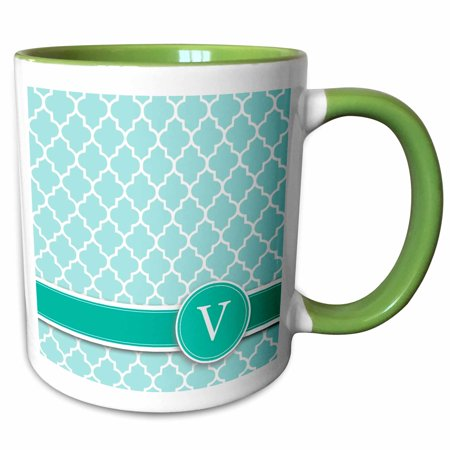 3dRose Personalized letter V aqua blue quatrefoil pattern Teal turquoise mint monogrammed personal initial - Two Tone Green Mug, 15-ounce