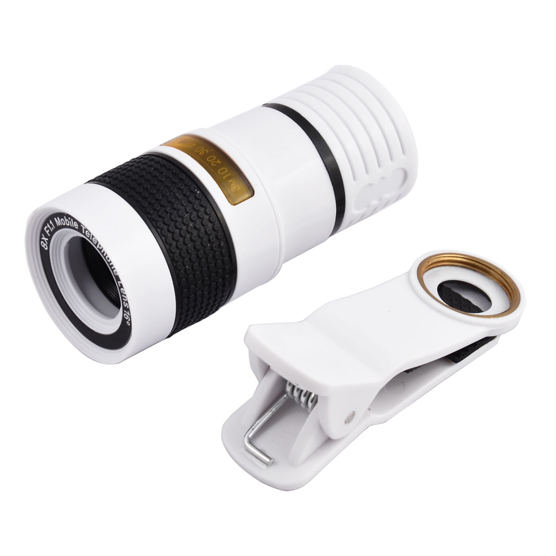 Clip-on HD 8X Optical Zoom Telephoto Camera Lens Black White for Cell Phone
