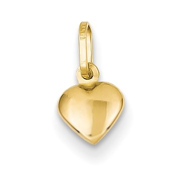 14k Yellow Gold Small Heart Pendant Charm Necklace Love For (Gold Small Heart Charm)