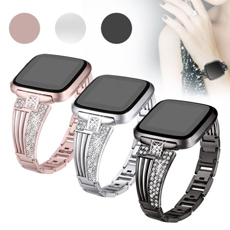 Metal Polished Watch Band - EEEKit Compatible with Fitbit Versa Bands, Replacement Stainless Steel Metal Watch Band Women Rhinestone Scalloped Shape Bracelet Bangle Wristband for Fitbit Versa & Fitbit Versa Lite Smartwatch