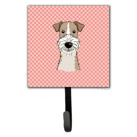 Caroline's Treasures Checkerboard Wire Hai Fox Terrier Leash Holder and Wall Hook