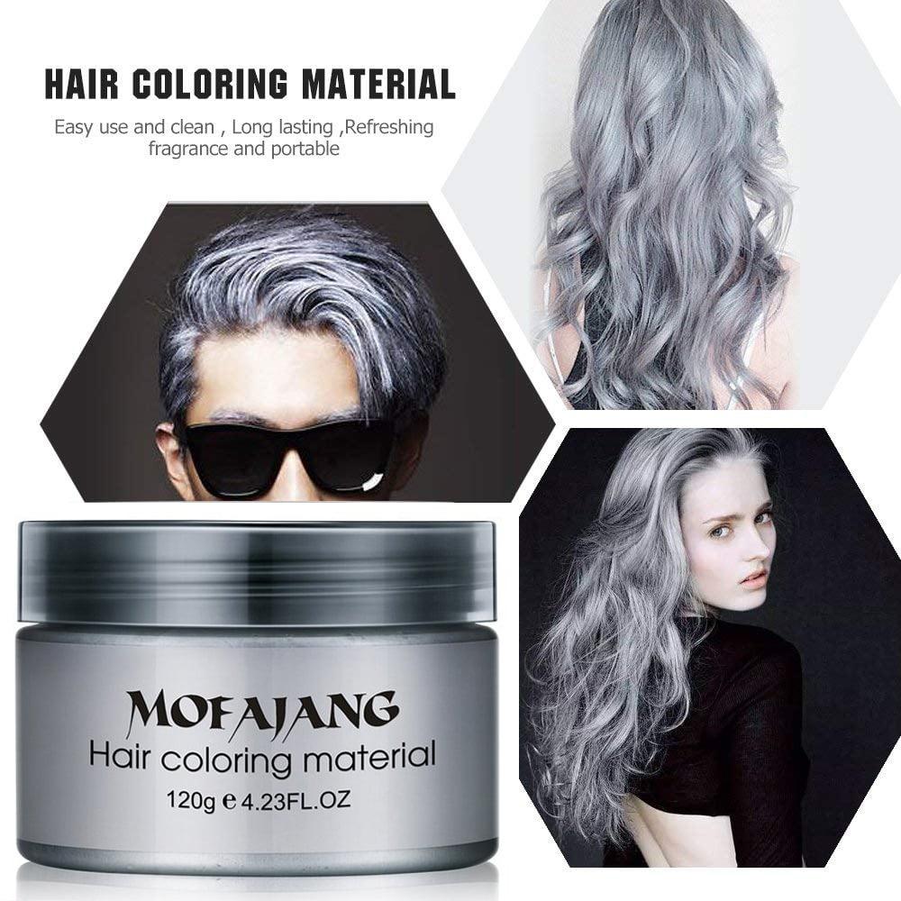 Hair Wax Temporary Hair Coloring Styling Cream Mud Dye Gray For Halloween Day Walmart Com Walmart Com