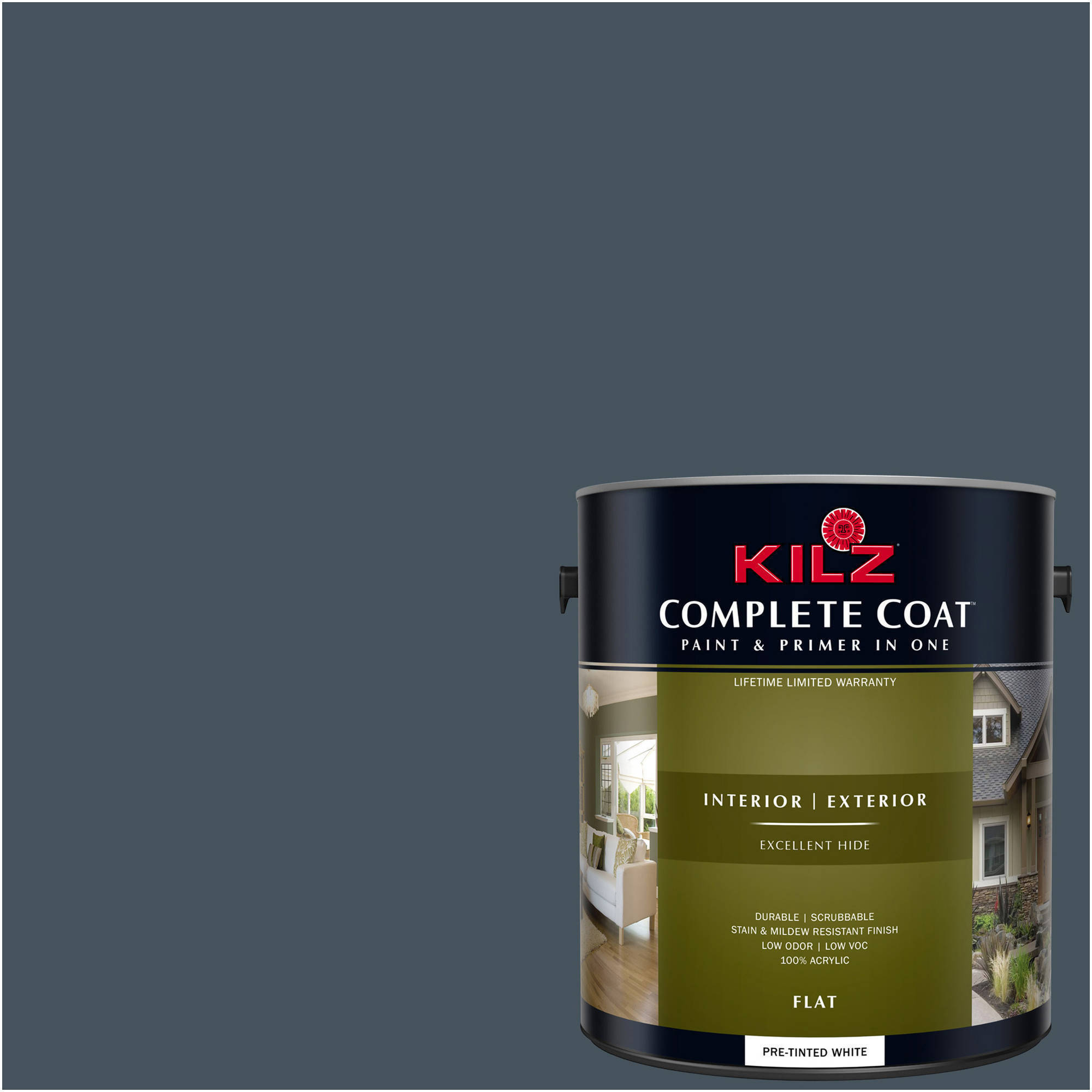 KILZ COMPLETE COAT Interior/Exterior Paint & Primer in One #RE120-02 Kettle Black