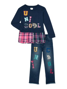 365 Kids From Garanimals Girls Twofer Top and Capri Denim, 2-Piece Outfit Set, Sizes 4-10