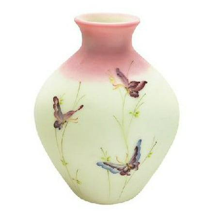 Fenton Art Glass 8808ke Butterflies On Lotus Mist Burmese Vase