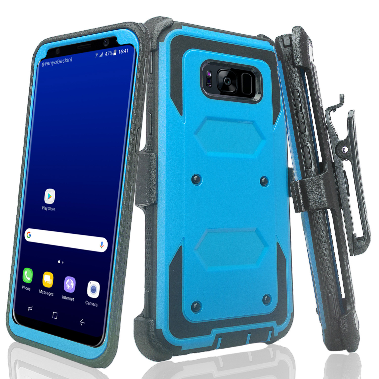 Samsung Galaxy S8 Case, SM-G955 Case, Triple Protection Heavy Duty Rotating Swivel Holster Shell Combo - Blue
