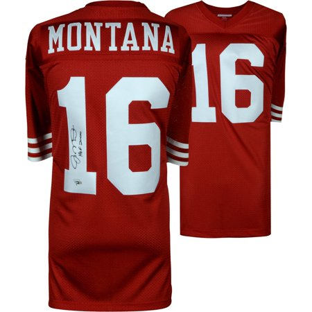 """Joe Montana San Francisco 49ers Autographed Mitchell & Ness Red Authentic Jersey with """"HOF 00"""" Inscription - Fanatics Authentic Certified"""