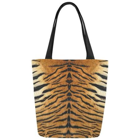 ASHLEIGH Tiger Print Canvas Tote Bag Shoulder Handbag for Women Girls