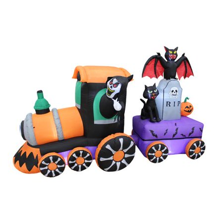 The Holiday Aisle Halloween Reaper Drive Train Inflatable with Tombstone and Bat and Cat (Halloween Decoration Ideas Bats)