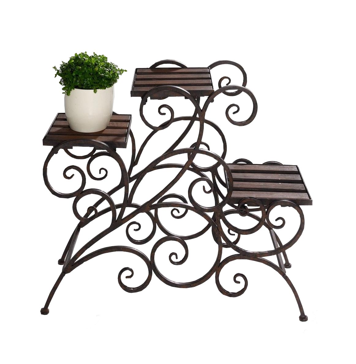 Antique Rustic Metal 3 Stairs Flower / Plant Stand Wood T...