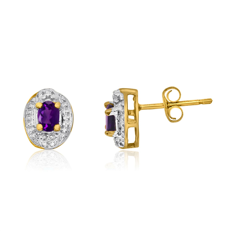 14k Yellow Gold Amethyst Earrings with Diamonds