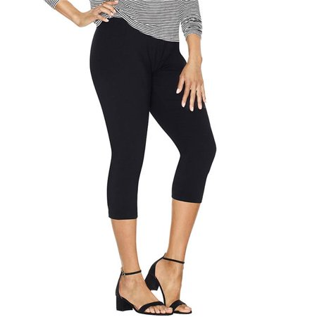74200968606 Stretch Cotton Womens Capri Leggings, Black - (Black Stretch Capris)